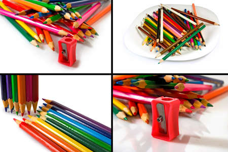 vibrant paintbrush: Isolated image of colorful pencils