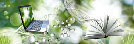 Image of molecular structure and chain of dna on a green background  book and laptop on a green background, 3d illustration,