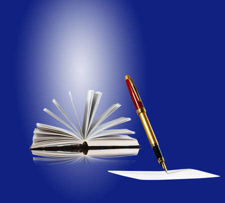 Book, paper and pen on a blue background. Stationery goods isolate