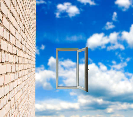 open windows: wall and window on sky background