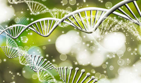 Image of molecular structure and chain of dna on a green background close-up