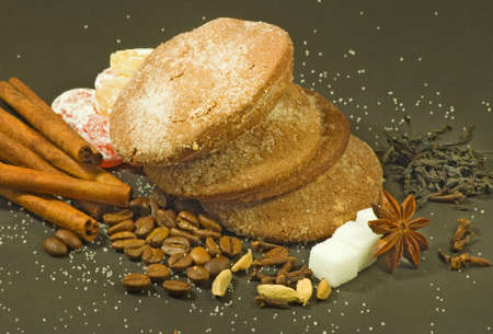 image of cookies, coffee beans and cinnamon sticks