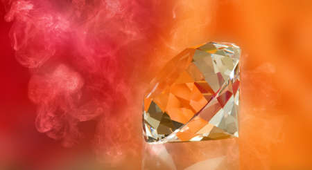 image of crystal on red background