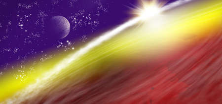 image of planet earth in space. illustration of a space landscape Stock Photo