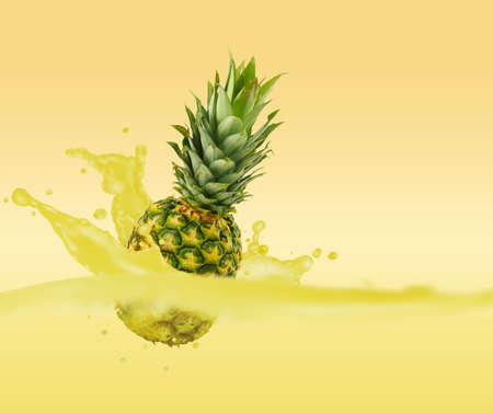 image of pineapple in water closeup