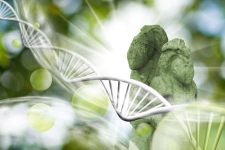 molecular structure, chain of dna and ancient statues on a green background Stock Photo