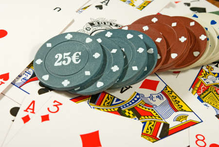 Image of cards and chips for poker playing closeup Stock Photo