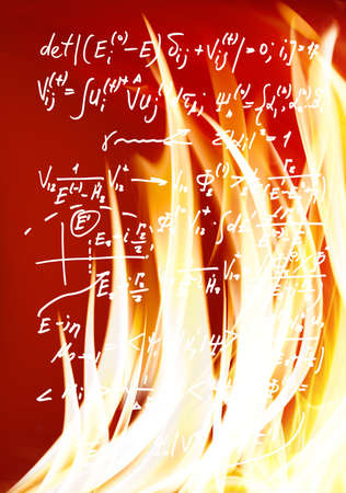 image of mathematical formulas against fire background