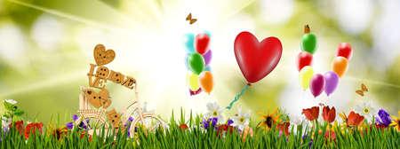 stylized image of bicycle and balloons closeup 版權商用圖片