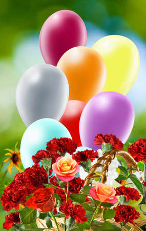 festive balloons and flowers in the garden Standard-Bild