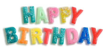 felicitaciones feliz cumpleaños sobre fondo blanco