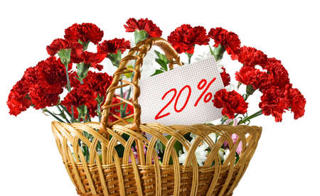 Isolated image of flowers in the basket and a card with 20% discount