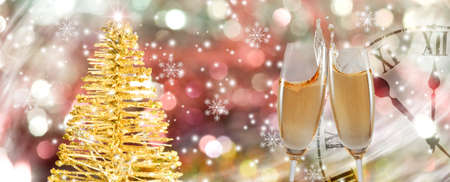 image of two glasses of champagne,   Christmas tree and clock