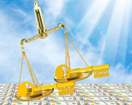 stylized image of keys with inscriptions success and strategy on scales on money background 스톡 콘텐츠