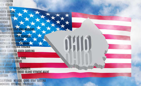 Ohio inscription on American flag background 3D illustration Stock Photo