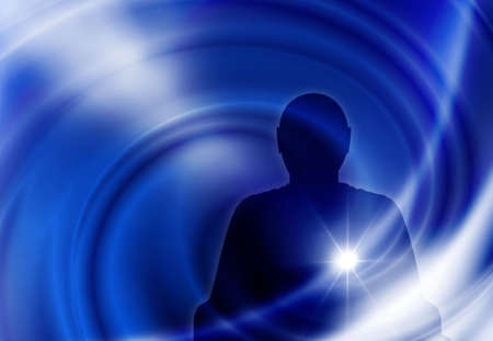 image of male silhouette on a blue background
