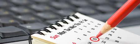 image of calendar and pencil closeup