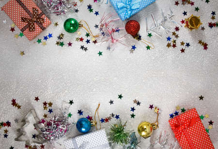 Christmas decoration and gifts close-up Banque d'images