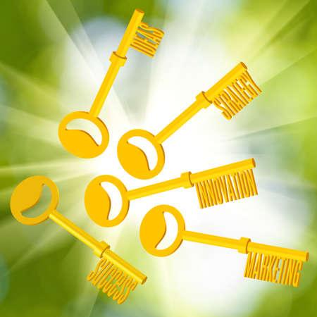 image of gold keys symbolizing idea, strategy, innovation, success, marketing. 3d illustration