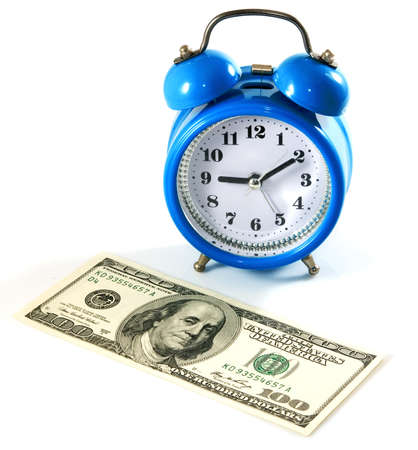 isolated image of dollars and alarm clock