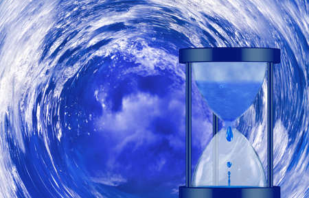 water clock on sea background