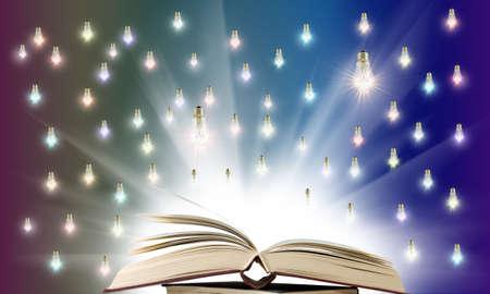 included light bulbs above an open book