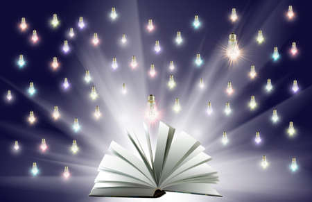 image of included light bulbs above an open book