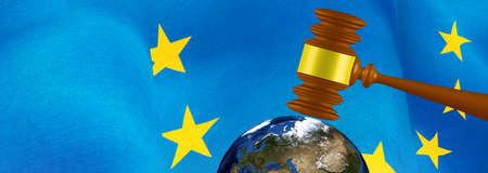 European flag,judicial feree gavel and globe closeup