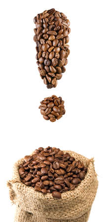 isolated image of coffee beans in the form of a exclamation mark and a bag of coffee beans closeup