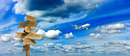 image of an airplane and a wooden pointer against the sky Stok Fotoğraf