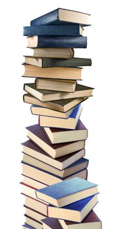 isolated image of many books on white background