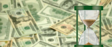 image of hourglass on money background closeup