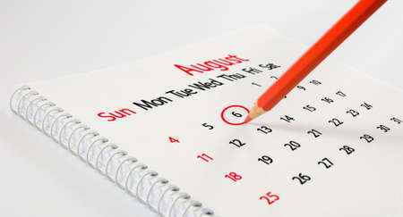 image of calendar and pencil closeup