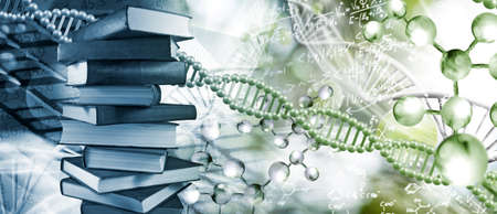 Stack of books depicted on DNA background closeup 版權商用圖片