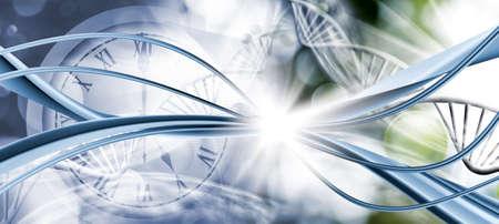 image of stylized clock face on gene code background closeup 写真素材 - 129995145