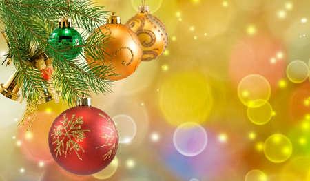 Image of Christmas balls  Christmas toys on the Christmas tree Banco de Imagens