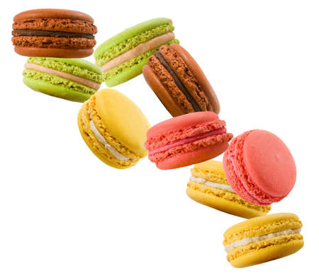 sweet and colorful dessert macarons isolated on white  background
