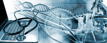 abstract 3d image of a DNA chain on the background of research equipment Stok Fotoğraf - 129995466