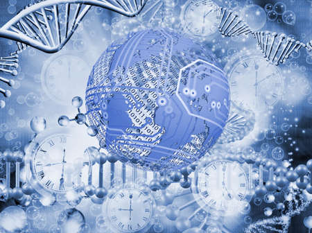 Abstract 3d image of dna chain on blurred background closup.Stylized image of the globe Stok Fotoğraf - 129995577