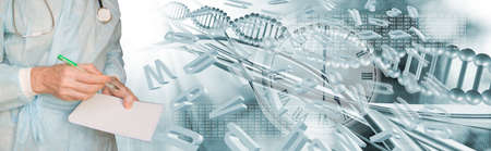 Abstract 3d image of a DNA chain and letters of the alphabet flying in space on a blurry background close-up. A doctor with a stethoscope writes something. Stok Fotoğraf