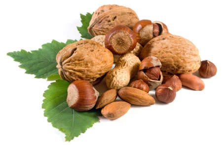 Isolated image of nuts on a white background close-up Stockfoto