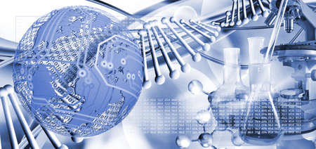 Abstract 3d image of dna chain on blurred background closup.Stylized image of the globe