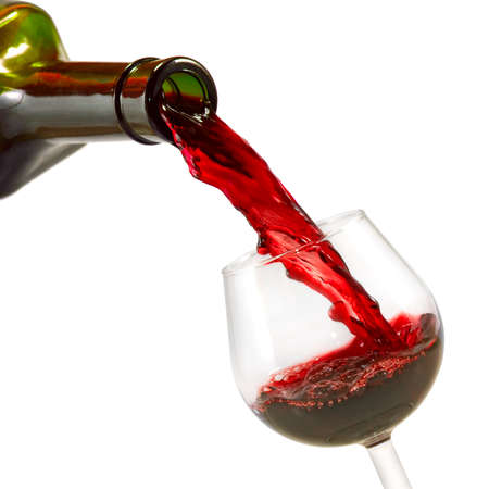 Images of bottle and glass of wine on white background.