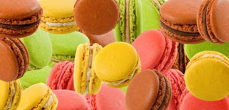 Abstract image of colorful macarons closeup 写真素材