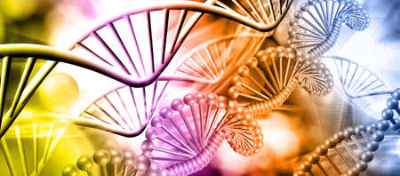 abstract 3d image of dna chain on blurred background closup Stok Fotoğraf - 129995758
