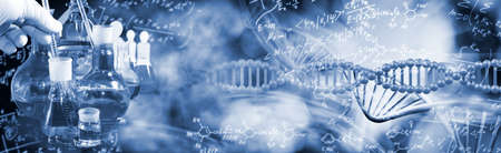Abstract image of a DNA chain on a blurry background close-up. Chemical and mathematical formulas are randomly located in the background. Фото со стока