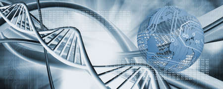 Abstract image of dna chain on blurred background closup.Stylized image of the globe