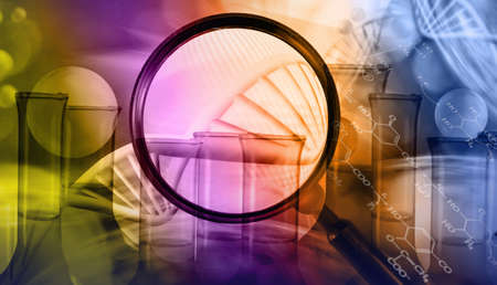Abstract image of dna chain on blurred background closup.Magnifier as a symbol of research