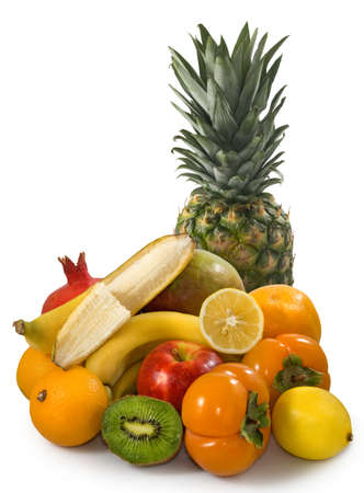 Image of tropical fruits isolated on white background closeup Stock Photo