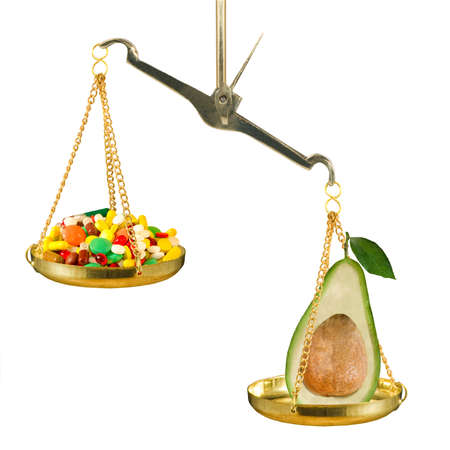on the scales lies an avocado that outweighs a bunch of drugs